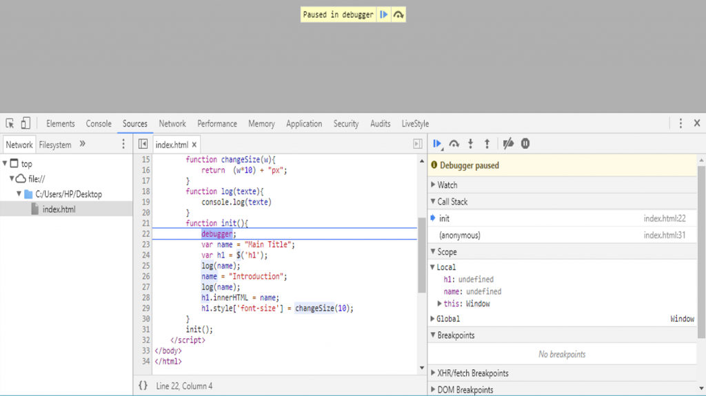 debugger javascript chrome